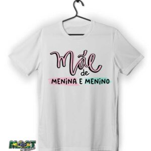 camiseta mãe de menina e menino
